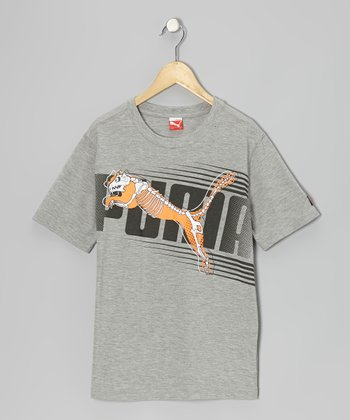 Heather Gray 'PUMA' Skeleton Tee - Toddler & Boys
