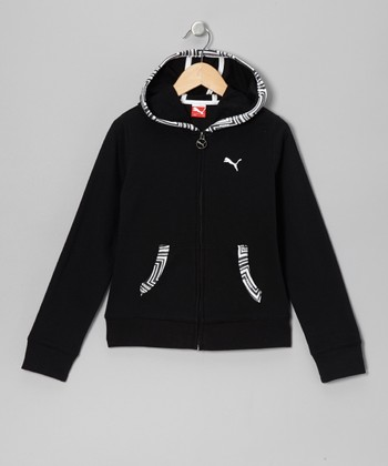 Black French Terry Zip-Up Hoodie - Toddler