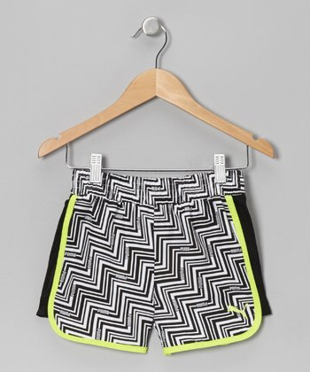 White & Neon Green Zigzag Shorts - Toddler