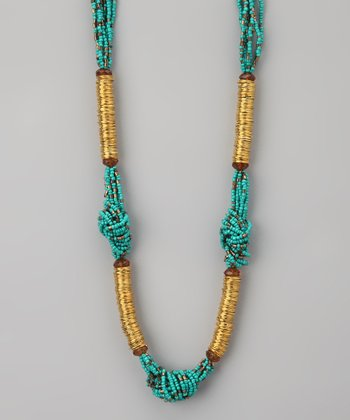 Turquoise & Gold Beaded Knot Necklace
