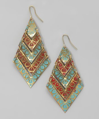 Coral & Turquoise Enamel Earrings
