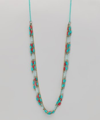 Coral & Turquoise Bead Necklace
