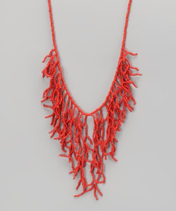 Coral Branch Bib Necklace