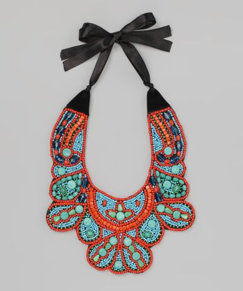 Coral & Turquoise Beaded Bib Necklace