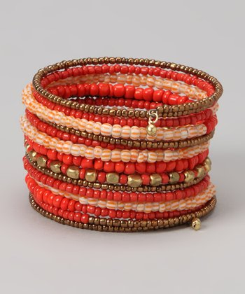 Orange Coil Stretch Bracelet