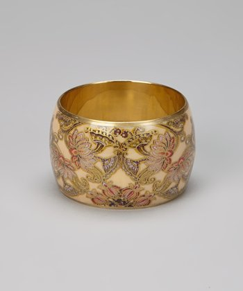 Cream & Gold Floral Bangle