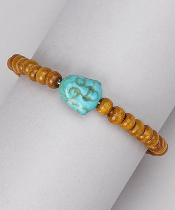 Turquoise & Wood Bead Buddha Stretch Bracelet