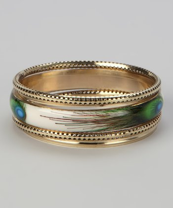 Gold Peacock Bangle Set