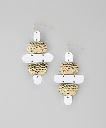 White & Gold Hammered Chandelier Earrings