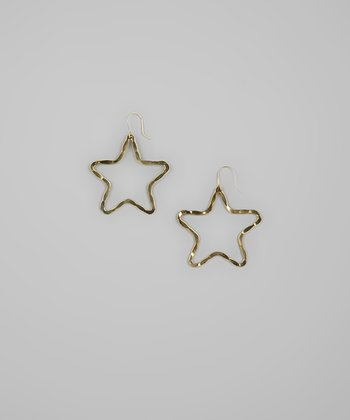 Gold Hammered Open Star Earrings