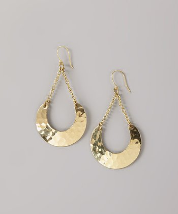 Gold Hammered Crescent Drop Earrings
