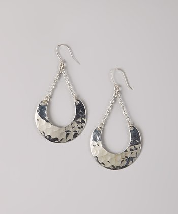 Silver Hammered Crescent Drop Earrings