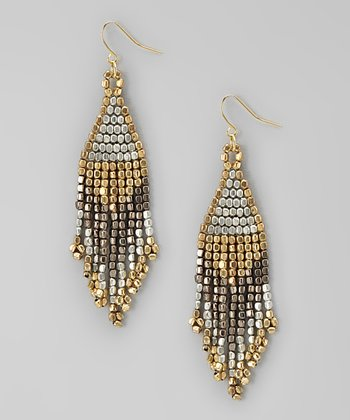 Metallic Fringe Beaded Chandelier Earrings
