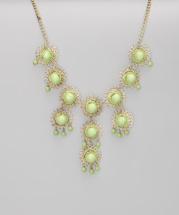 ZAD Zad Light Green Bubble Tier Bib Necklace