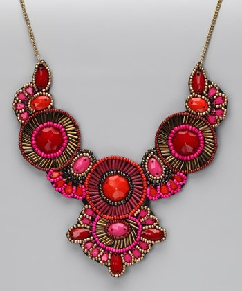 Pink & Red Bead Bib Necklace