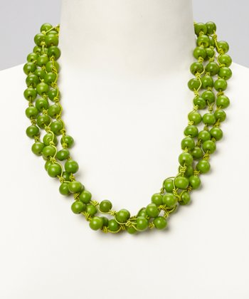 Green Bone Bead Necklace