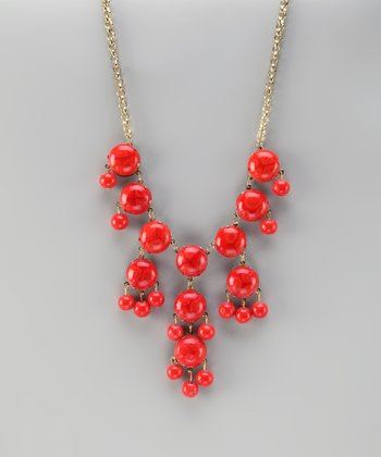 Red-Orange Bubble Necklace