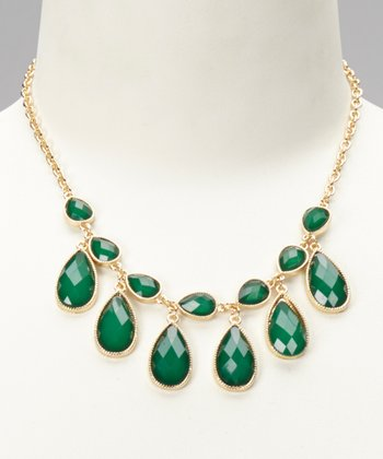 Green & Gold Teardrop Drape Necklace