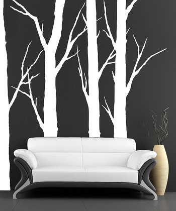 White Forest Trees Wall Decals Set