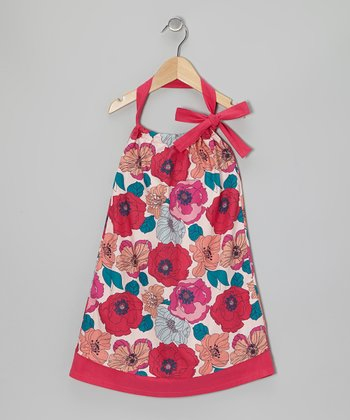 Bright Rose Floral Halter Swing Dress - Toddler & Girls