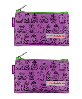 Purple 'I Have Food Allergies' Snack Bag - Set of Two
