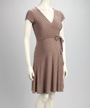 Mocha Polka Dot Perfect Maternity Cap-Sleeve Wrap Dress