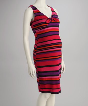 Pink Candy Stripe Bow Maternity Dress