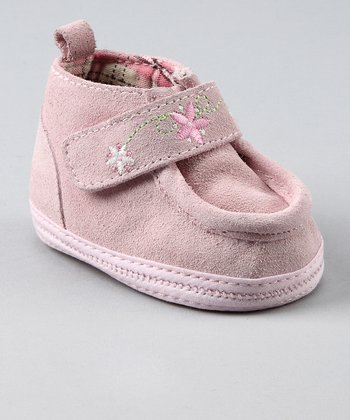 Pink Suede Embroidered Shoe