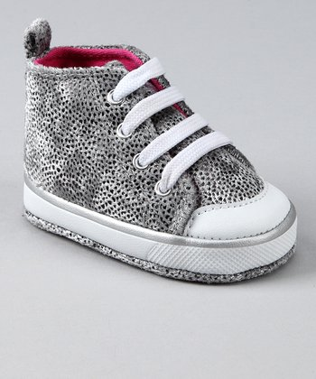 Silver Pebbled Velvet Soft Hi-Top Sneaker