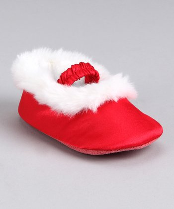 Red Faux-Fur Ballet Slipper