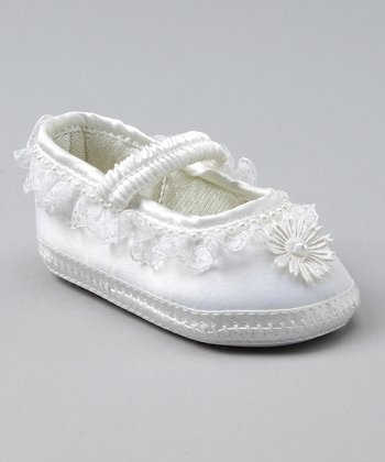 White Satin Crib Shoe