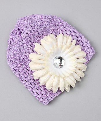 Lavender & Ivory Flower Crochet Beanie