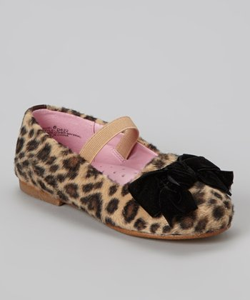 Brown Leopard Bow Flat