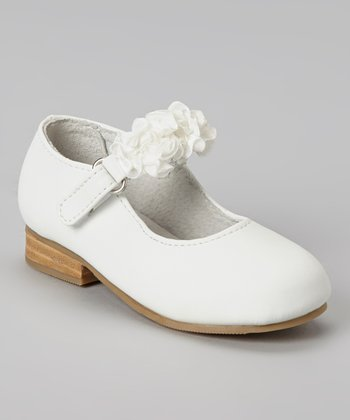 White Ruffle Flower Leather Mary Jane