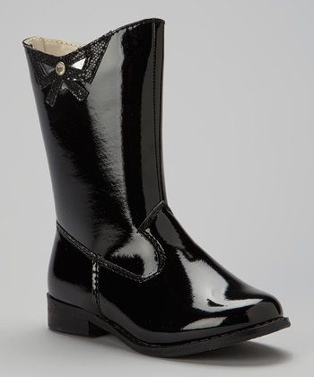 Black Patent Leather Bow Boot