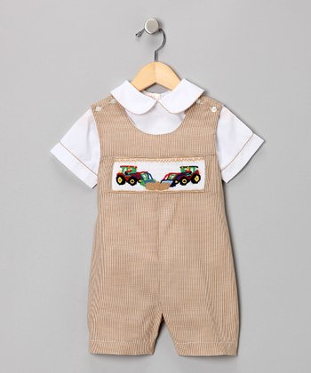 Beige Tractor Shirt & Shortalls - Infant & Toddler