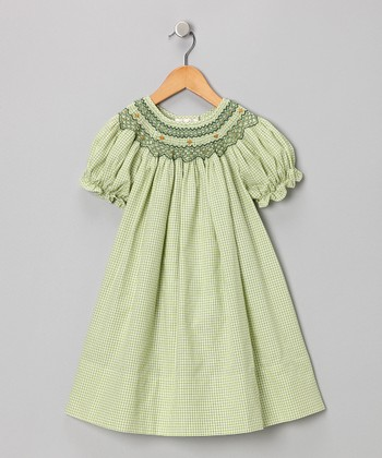 Green English Bishop Dress - Infant, Toddler & Girls