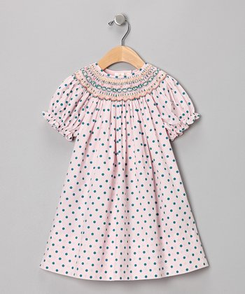 Pink & Green Polka Dot Bishop Dress - Toddler
