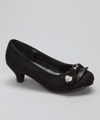 Black Heart Kitten Heel