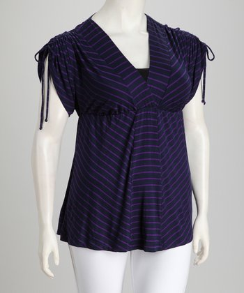 KIYONNA Purple Stripe Sandy Plus-Size Top