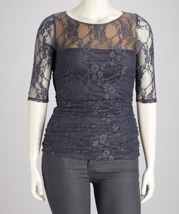 Gray Sheer Lace Smitten Top - Plus