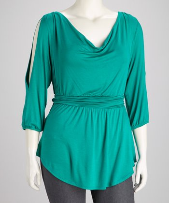 Green Cayden Cutout Top - Plus