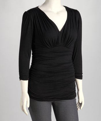 Back Noir Ruched Sadie Top - Plus