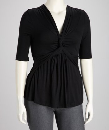 Black Noir Twist-Front Caycee Top - Plus