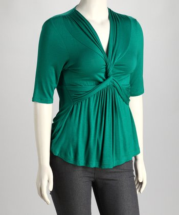 Kelly Green Twist-Front Caycee Plus-Size Top