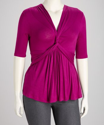 Magenta Maven Twist-Front Caycee Top - Plus