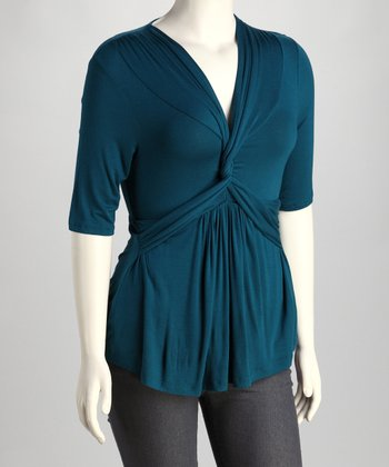 Teal We Meet Again Twist-Front Caycee Top - Plus