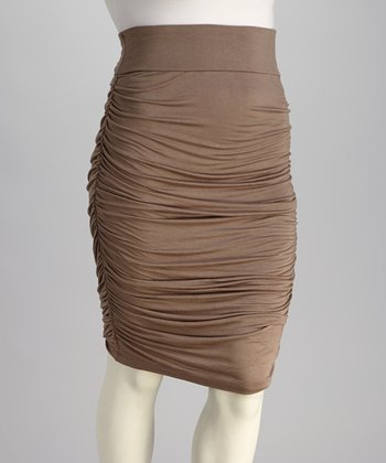 Vintage Taupe Riley Ruched Skirt - Plus