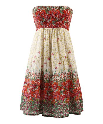 Mimosa Floral Strapless Dress