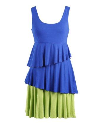 Peppermint Bay Royal Blue & Green Ruffle Dress